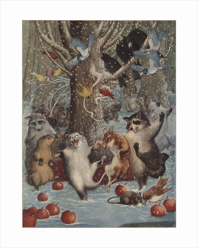 Woodland animals dancing in snow by Corbis