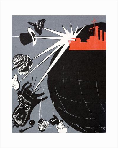 Russian Communist poster showing the battleship Aurora by Corbis