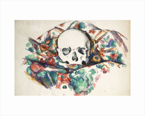 Skull on a Curtain by Paul Cezanne