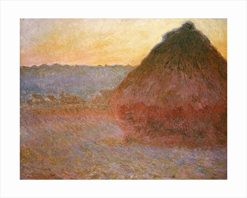 Haystacks, Pink and Blue Impressions by Claude Monet