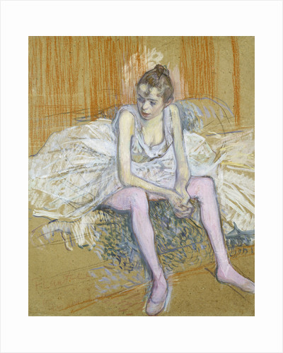 A Seated Dancer with Pink Stockings by Henri de Toulouse-Lautrec