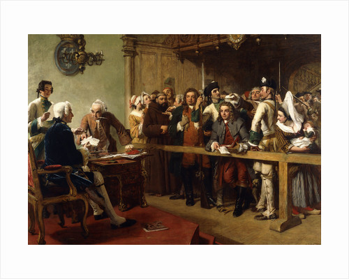 Hogarth Brought Before the Governor of Calais as a Spy by William Powell Frith