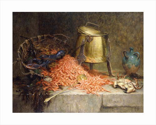 A Lobster, Shrimps and a Crab by an Urn on a Stone Ledge by Desire-Alfred Magne