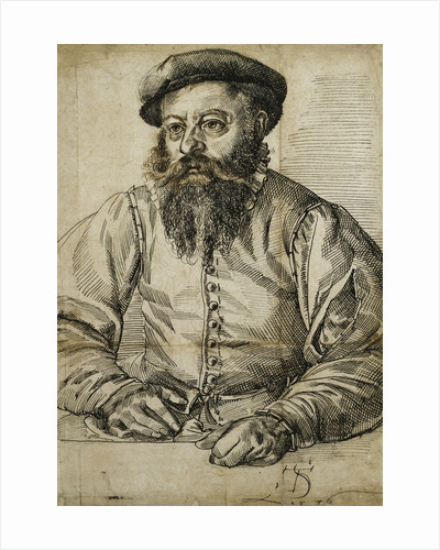 Portrait of a Bearded Man, Half Length, Seated at a Table by Tobias Stimmer