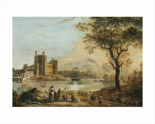 Caernarvon Castle, with a Harper in the Foreground by Paul Sandby