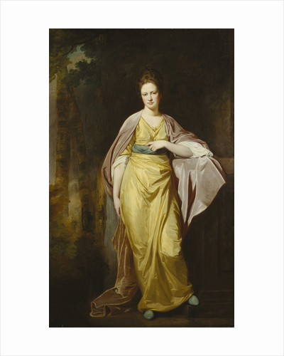Portrait of Mrs. Ellen Morewood, standing full length, in a Yellow Dress by George Romney
