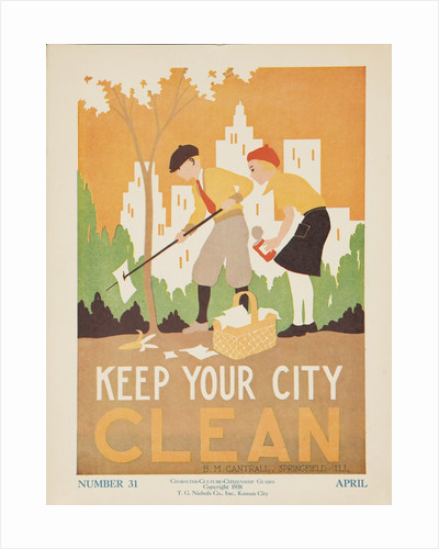 1938 Character Culture Citizenship Guide Poster, Keep Ypur City Clean by Corbis