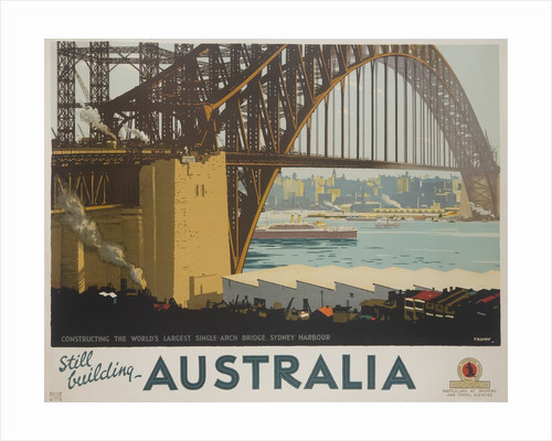 Australia, Constructing the Sydney Harbor Bridge Travel poster by Corbis