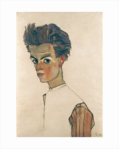 Self-Portrait with Striped Shirt by Egon Schiele