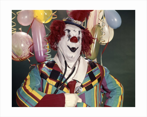 1960s Fat Overweight Clown Listening To His Heart With A Medical Stethoscope Health by Corbis