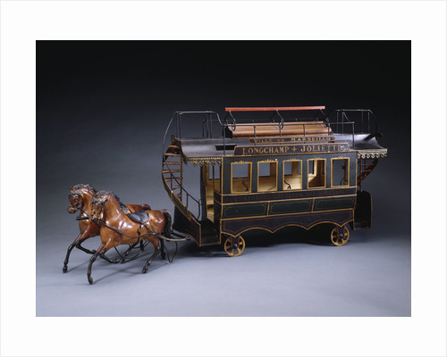 A magnificent early French hand painted tinplate horse drawn open double decker tram, with destination boards by Corbis