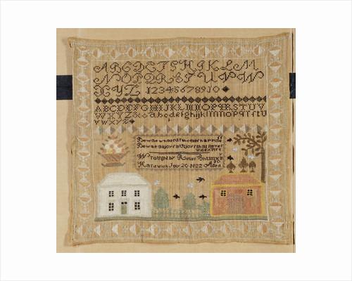 Silk-on-linen needlework sampler by Corbis