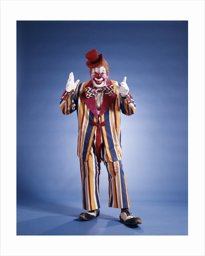 1970s Full Length Portrait Of Clown In Striped Costume by Corbis