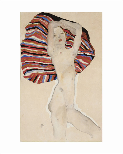 Nude Against Coloured Material by Egon Schiele
