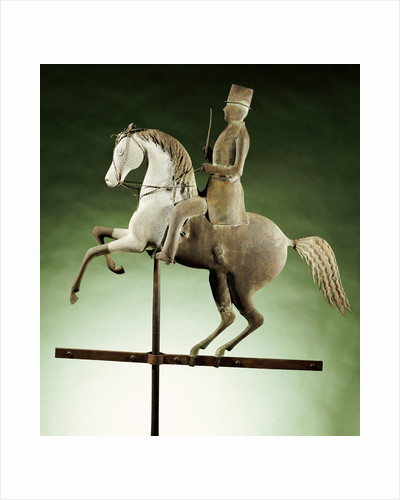 An extremely rare and important molded copper and zinc worse and rider weathervane by Corbis