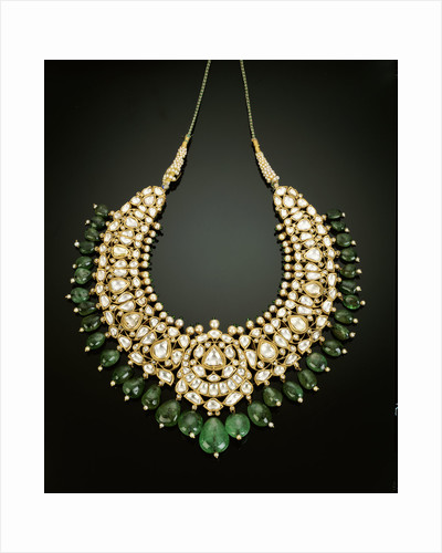 An antique Indian diamond, emerald and enamel necklace by Corbis