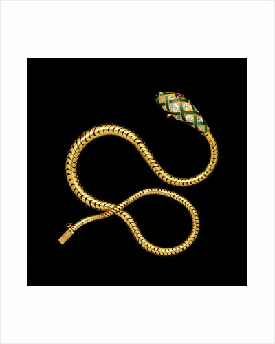 A fine Victorian diamond, gold and enamel flexible serpent necklace by Corbis