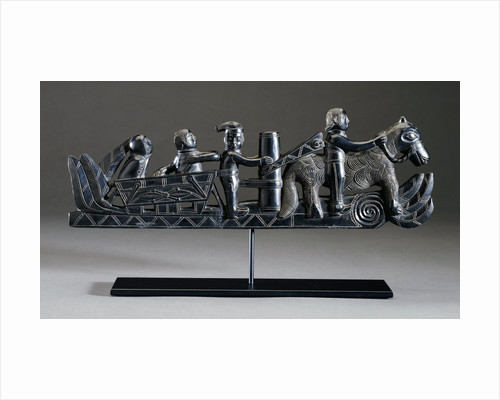 A Haida argillite ship pipe depicting a ship, an equestrian scene and various scroll and foliate motifs by Corbis