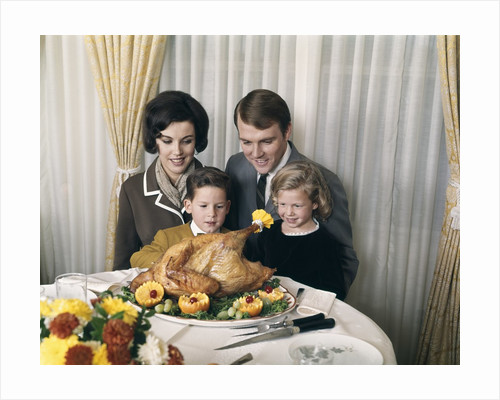 1960s 1970s Family Portrait With Holiday Roasted Turkey On Dining Table by Corbis