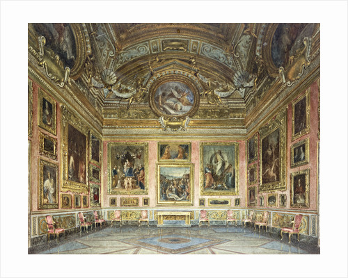 Interiors of the Palazzo Pitti, Florence: The Sala di Saturno with Perugino's 'Lamentation' flanked by paintings by Fra Bartolommeo and Raphael by Domenica Caligo by Corbis