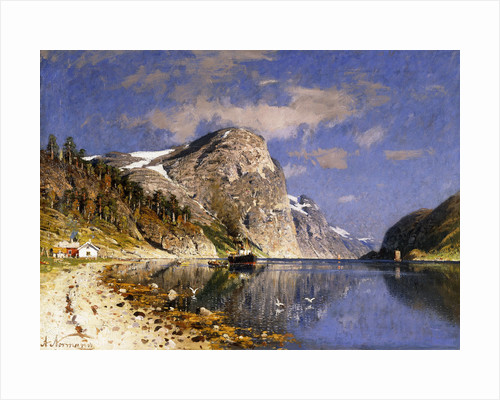 A Steamer in the Sognefjord by Adelsteen Normann
