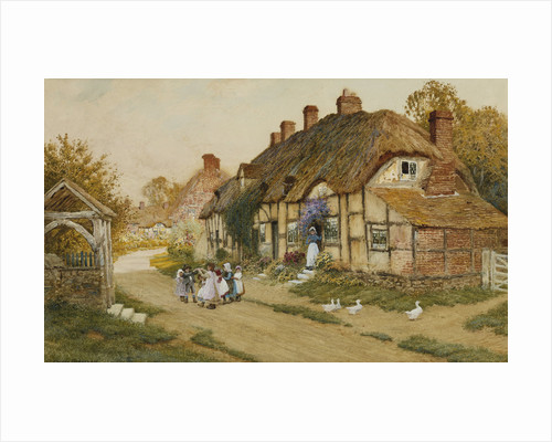 Children Playing Outside a Cottage in a Village by Arthur Claude Strachan