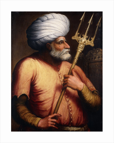Portrait of Khair el-Din Barbarossa, half-length, holding a Trident by Corbis