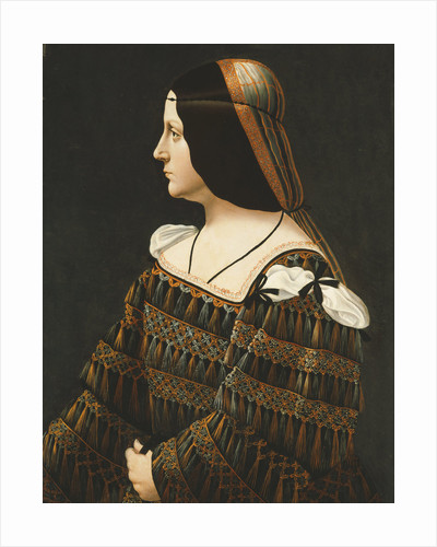 Portrait of a Lady, Half Length, in Profile, in a Black Dress Decorated with Lace, with Pendant Tassels and Slashed Shoulders and an Orange and Grey Snood by Corbis