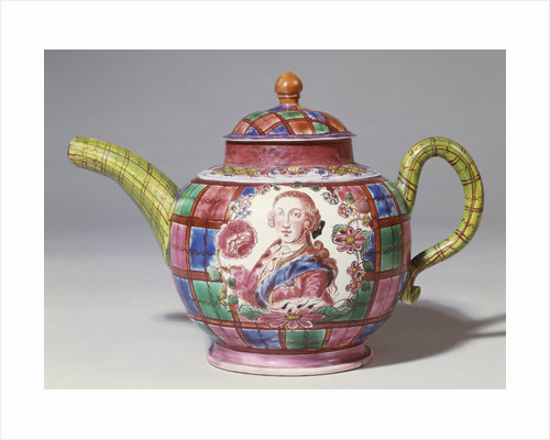 A Staffordshire saltglaze tartan-ground royalist teapot and cover with a bust length portrait of Prince Charles Edward Stuart by Corbis