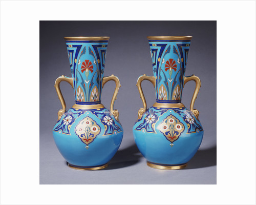 A pair of Minton twin-handled cloisonne vases by Corbis