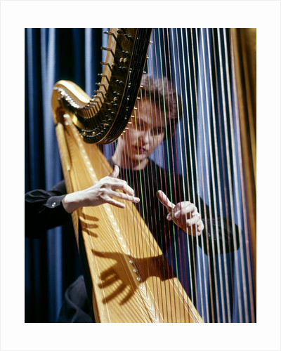 1960 1960s Retro Harp Musician Woman Strings by Corbis