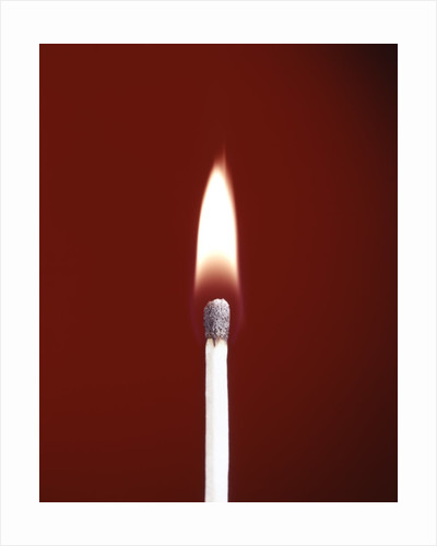 1970s Burning Wooden Safety Match On Red Background Flame by Corbis