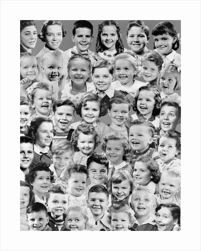 1950s Collage Montage Smiling Boy And Girl Many Head Portraits Studio by Corbis