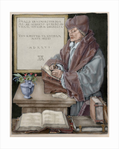 Erasmus of Rotterdam (1466-1536). Engraving by Durer. Colored by Corbis