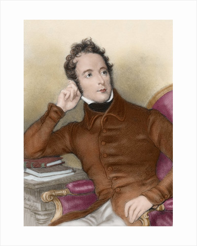 Lamartine, Alphonse de (1790-1869). French romantic writer and politician. Colored engraving by Corbis