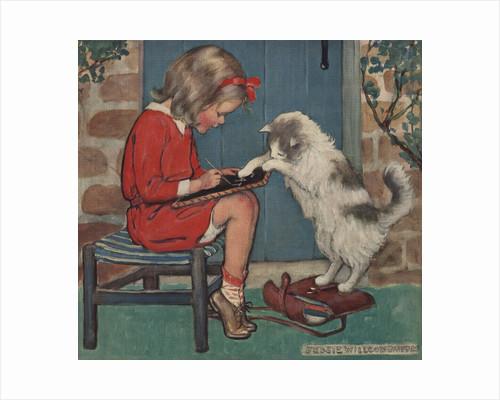Cat helping girl with homework by Jessie Willcox Smith