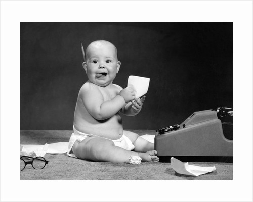 1960s Eager Baby Accountant Working At Adding Machine by Corbis