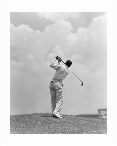 1930s Man Playing Golf Teeing-off Golf Ball From Tee With Driver Outdoor by Corbis