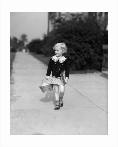 1940 Little Blond Girl Holding Basket Books Walking Sidewalk by Corbis