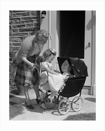1940s Mother And Daughter With Doll In Stroller by Corbis