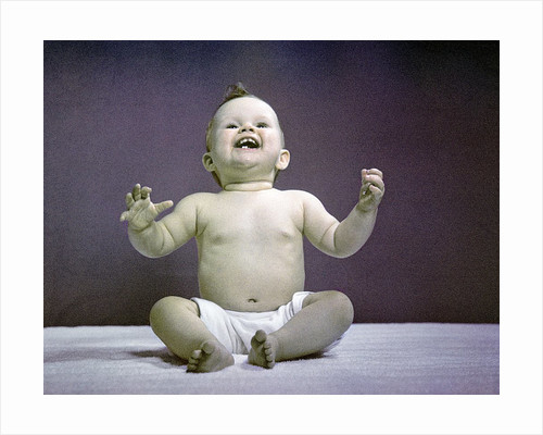 1940s 1950s Full Body Sitting Baby Laughing Hands Arms Raised by Corbis