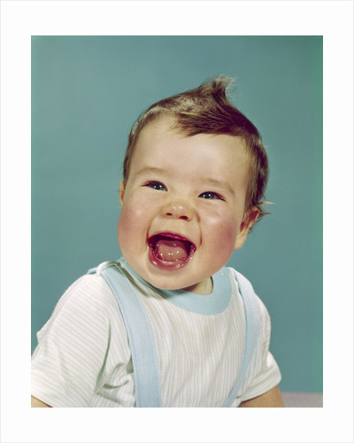 1960s Happy Smiling Laughing Baby With Mouth Wide Open Looking At Camera by Corbis