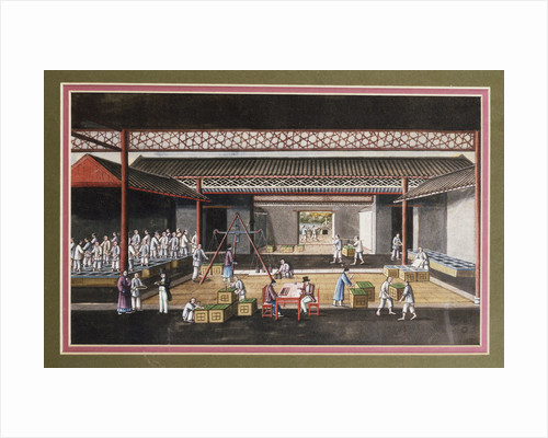 A Chinese export ricepaper painting depicting a storage house interior with figures packaging and weighing tea crates by Corbis