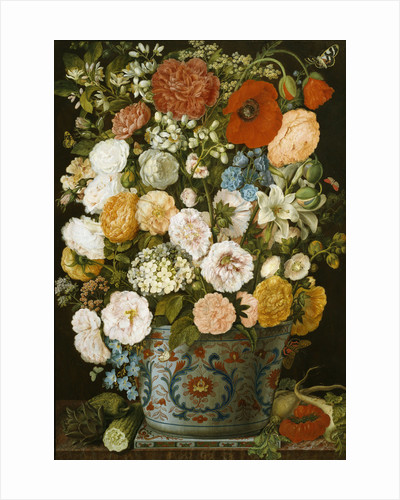 A Still Life with Camellias, Poppies, a White Hydrangea, Roses, Carnations, Lilies and other Flowers in an Imari Urn on a Famille Vert Tile on a Marble Ledge with an Artichoke, Cucumbers, Parsnips and a Tomato by Corbis