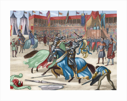 Medieval tournament. Colored engraving. 19th century by Corbis