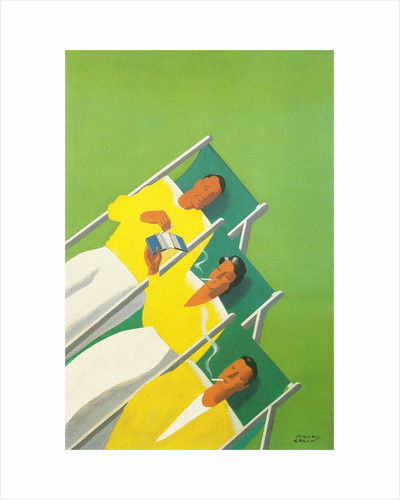 People Smoking in Deck Chairs, French Poster by Corbis