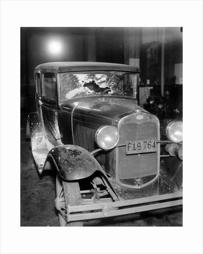 News photo of bullet-riddled automobile in Chicago, ca. 1934 by Corbis