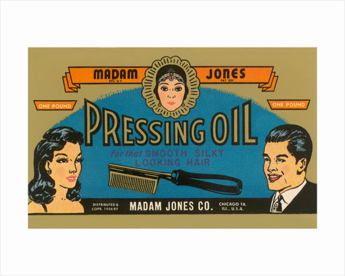 Pressing Oil Hair Tonic Label by Corbis