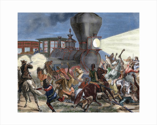 Union Pacific train attacked by Indians. USA by Corbis