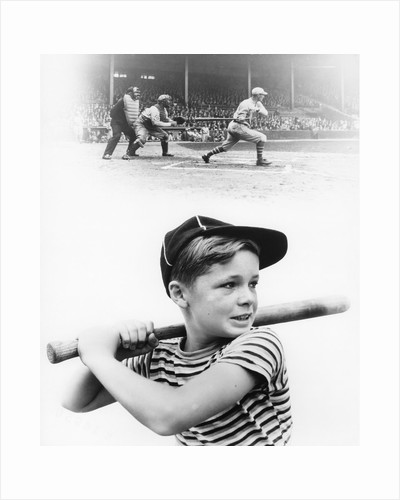 1930s boy daydreaming about professional baseball by Corbis